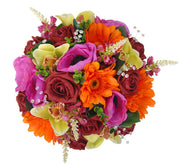Brides Burgundy Rose, Orange Gerbera & Green Orchid Wedding Bouquet
