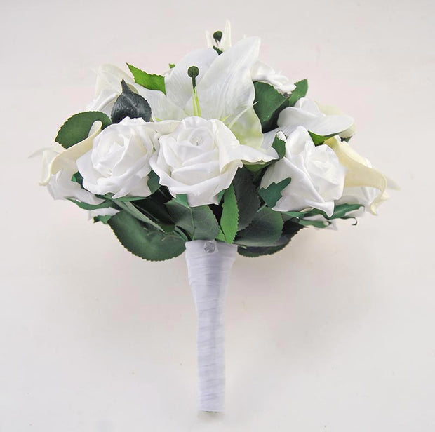 Brides White Rose & Ivory Silk Lily Wedding Posy Bouquet