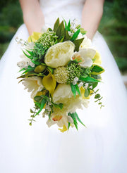 Brides Ivory Peony, Orchid, Gerbera & Yellow Calla Lily Wedding Shower