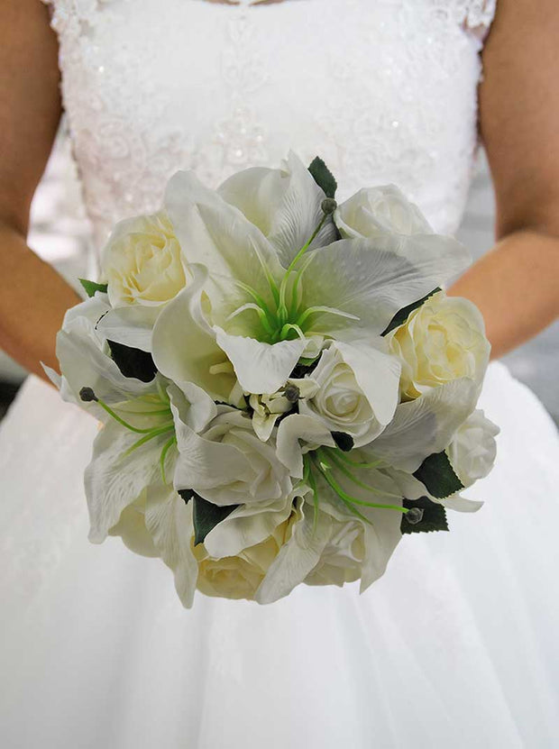 Brides Ivory Casablanca, Calla Lily & Rose Wedding Bouquet