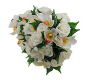 Brides Ivory Silk Orchid & Rose Wedding Shower Bouquet