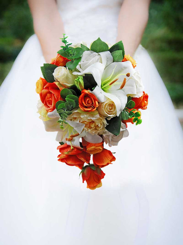 Brides Ivory Tiger Lily, Orange Silk Rose & Lemon Peony Wedding Shower Bouquet