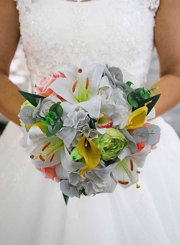 Brides Lime Silk Peony, Yellow Calla Lily & Peach Rose Wedding Bouquet