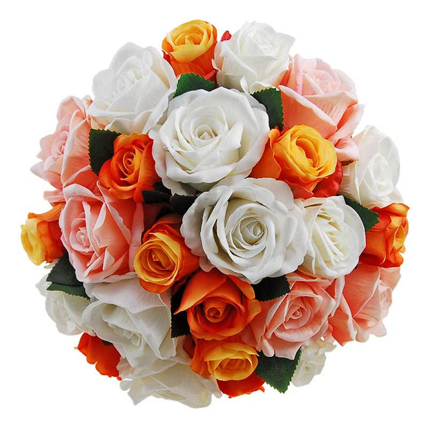 Brides Orange, Peach & Off White Silk Rose Wedding Posy Bouquet