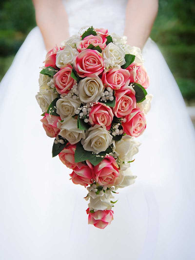 Brides Pink, Ivory Silk Roses, Gypsophila & Pearl Loop Wedding Shower Bouquet