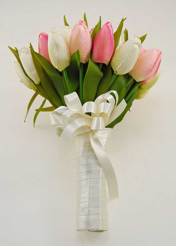 Brides Pink & Ivory Silk Tulip Satin Ribbon Wedding Bouquet
