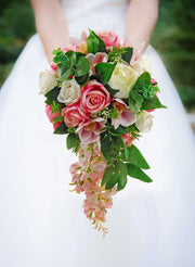 Brides Pink Wisteria, Rose, Orchid & Ivory Peony Hand-Tied Shower Bouquet