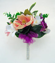 Brides Purple Rose, Pink Magnolia, Gerbera & Orchid Wedding Bouquet
