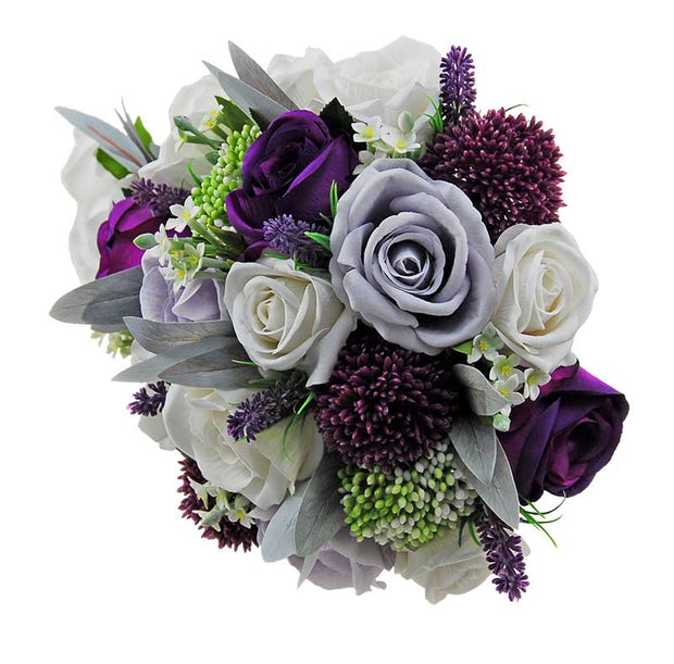 Brides Purple Silk Rose, Allium, Grey & Ivory Rose Shower Bouquet