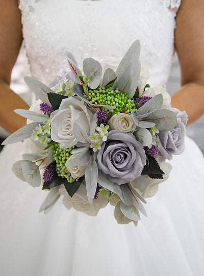 Brides Silk Grey, Ivory Rose, Lilac Lavender & Berry Wedding Bouquet
