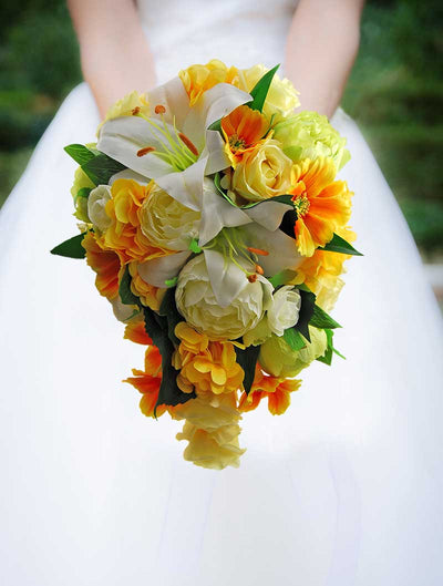 Brides Yellow Silk Hydrangea, Cosmos, Green Peony Wedding Shower Bouquet