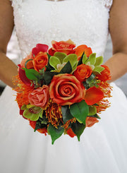Brides Artificial Orange & Raspberry Hand Tied Wedding Shower Bouquet