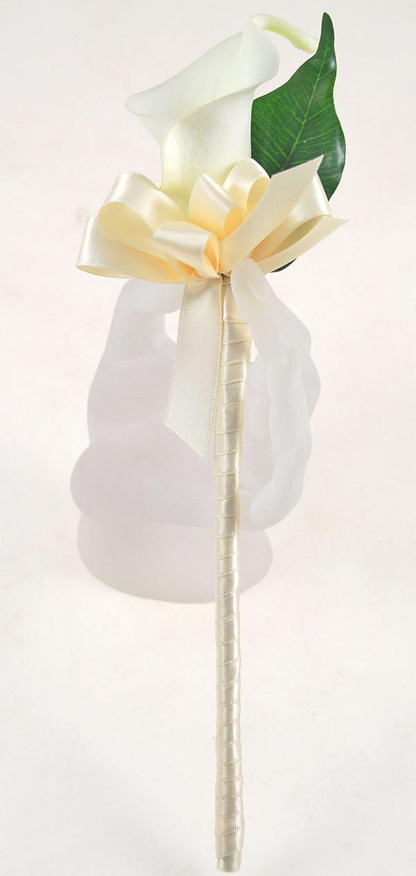 Artificial  Ivory Calla Lily Flower Girl Wedding Day Wand