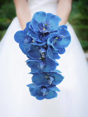 Bridesmaids Blue Silk Orchid Wedding Shower Posy