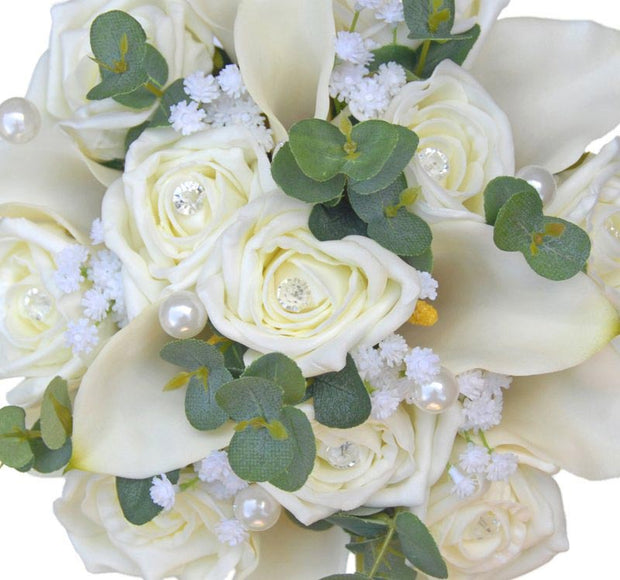 Bridesmaids Ivory Lily, Diamante Rose, Gypsophila & Eucalyptus Wedding Bouquet
