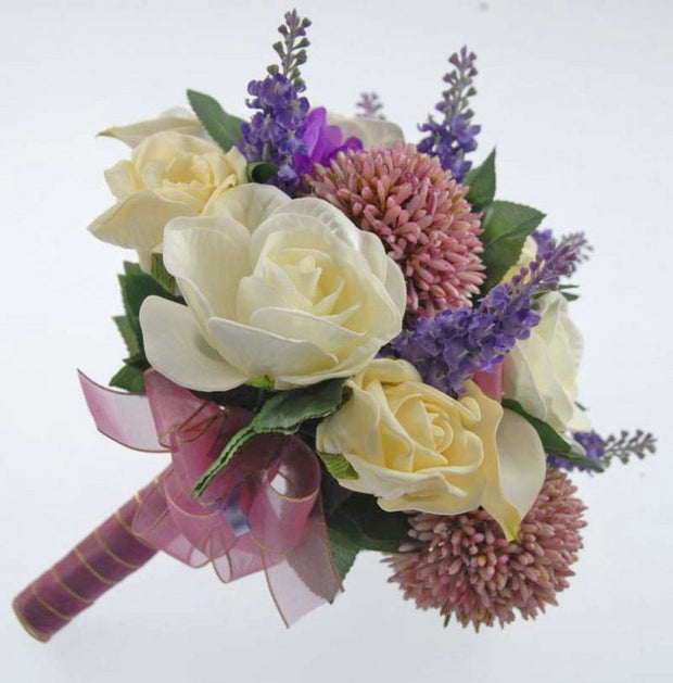 Bridesmaids Lilac Allium, Ivory Rose & Calla Lily Wedding Bouquet