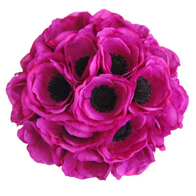 Bridesmaids Cerise Pink Silk Anemone Wedding Posy Bouquet