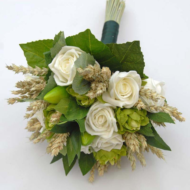 Bridesmaids Ivory Rose, Wheat & Green Hops Wedding Bouquet