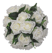 Bridesmaids Ivory Diamante Gem Rose & Leaf Wedding Bouquet