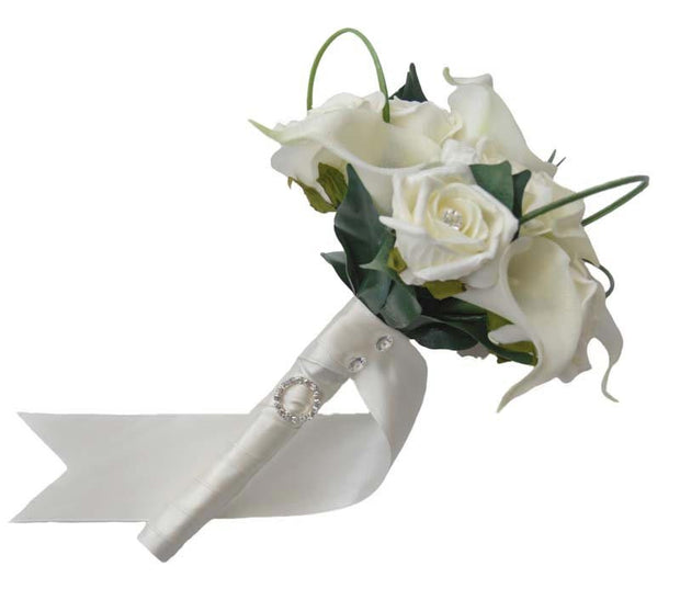 Bridesmaids Ivory Calla Lily & Diamante Rose Wedding Bouquet