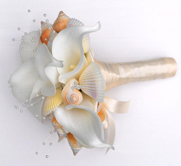 Bridesmaids Seashell, Pearls & Calla Lily Wedding Bouquet