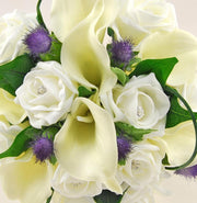 Bridesmaids Ivory Calla Lily, Diamante Rose & Thistle Wedding Bouquet