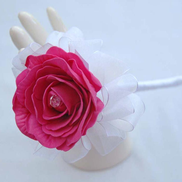 Diamante Cerise Pink Foam Rose Flower Girl Wedding Wand