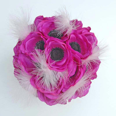 Bridesmaids Cerise Pink Silk Anemone & Feather Wedding Bouquet