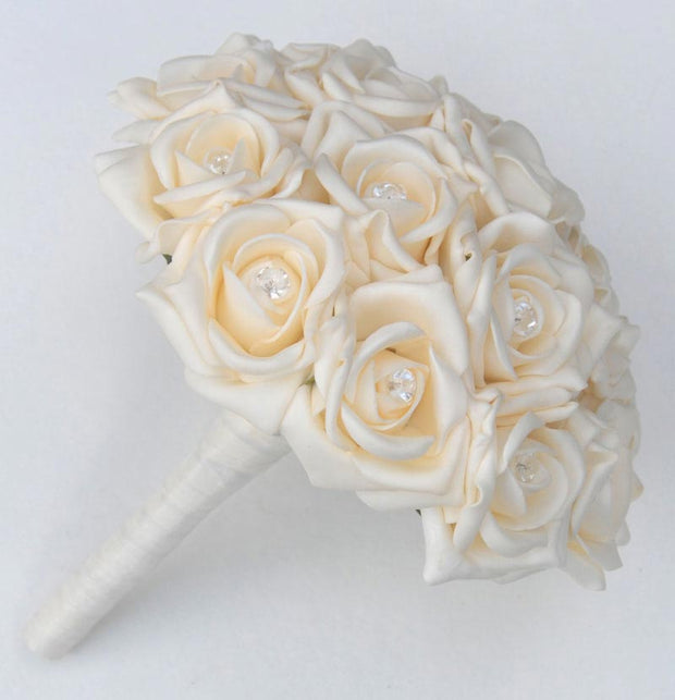 Bridesmaids Cream Diamante Rose Wedding Posy Bouquet