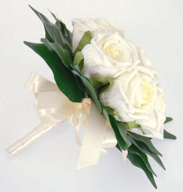 Bridesmaids Ivory Rose & Ficus Leaf Flower Girl Wedding Posy