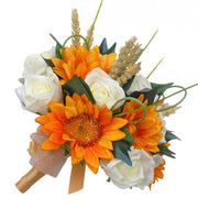 Bridesmaids Golden Silk Sunflower, Wheat & Ivory Rose Wedding Posy