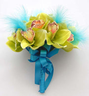 Bridesmaids Green Silk Orchid & Turquoise Feather Wedding Bouquet