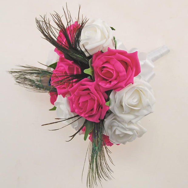 Bridesmaids Cerise White Rose & Peacock Feather Wedding Bouquet