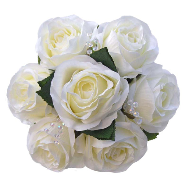 Bridesmaids Ivory Silk Rose & Crystal Wedding Posy Bouquet