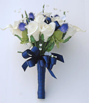 Bridesmaids Ivory Calla Lily, Rose & Blue Thistle Wedding Posy