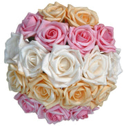 Bridesmaids Gold, Pink & Ivory Striped Rose Wedding Posy