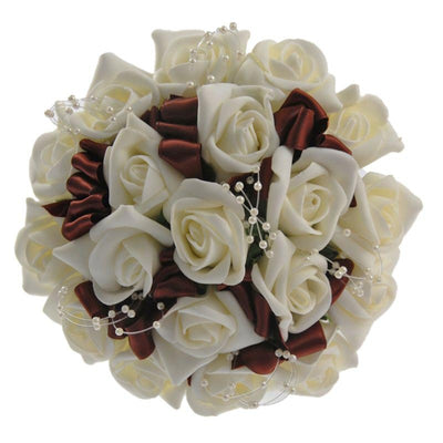Bridesmaids Ivory Rose, Pearl & Chocolate Bow Wedding Posy