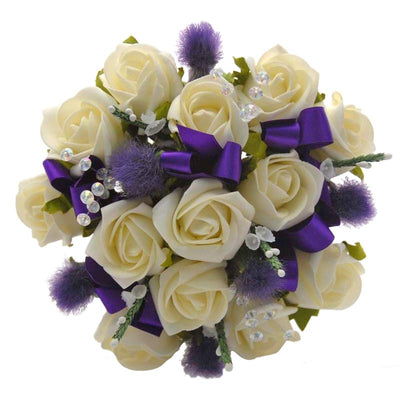 Bridesmaids Ivory Rose, Thistle, Heather & Crystal Wedding Bouquet