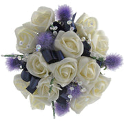 Bridesmaids Ivory Rose Thistle Heather & Navy Blue Ribbon Posy