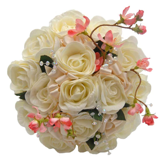 Bridesmaids Ivory Rose, Cherry Blossom & Crystal Wedding Posy