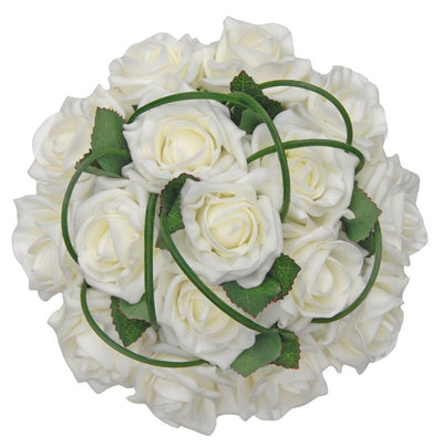 Bridesmaids Ivory Foam Rose & Grass Loop Wedding Bouquet