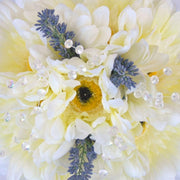 Bridesmaids Ivory Silk Gerbera, Lavender & Crystal Wedding Posy