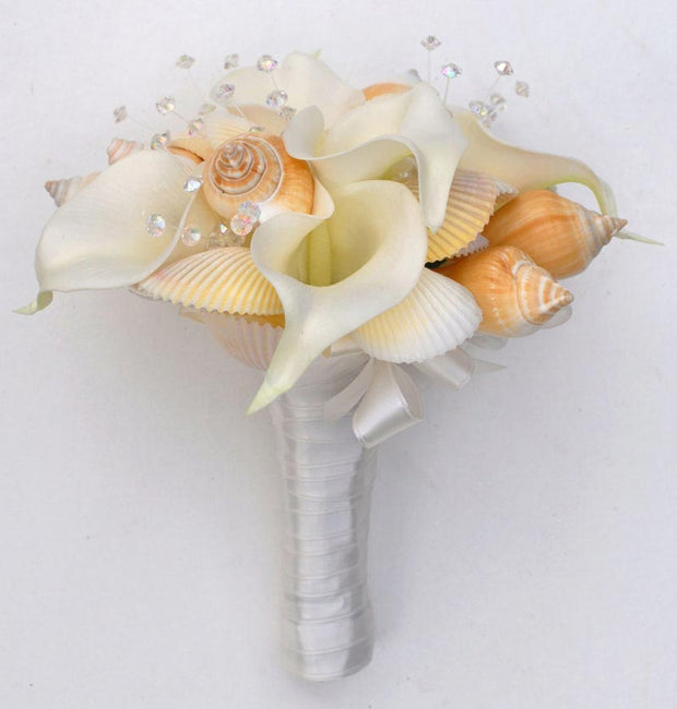 Bridesmaids Ivory Calla Lily, Crystal & Beach Seashell Wedding Posy