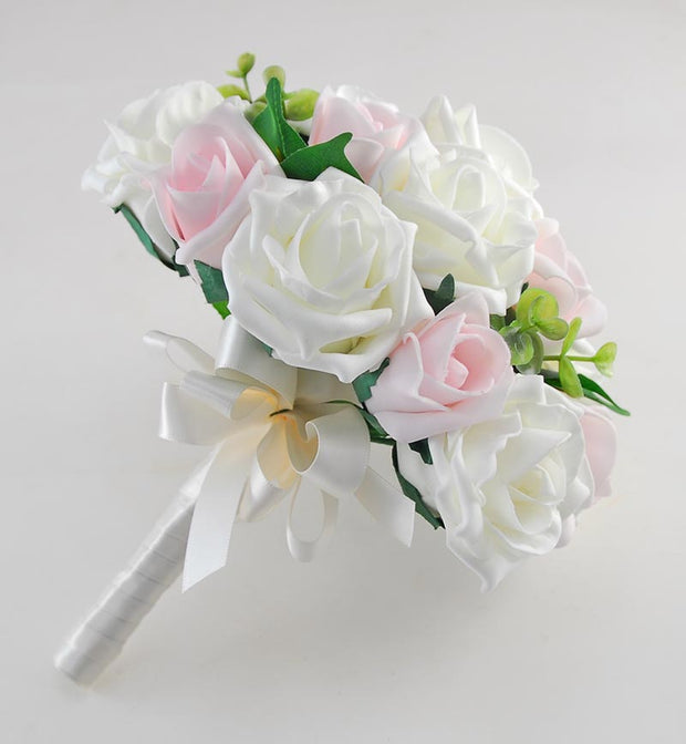 Bridesmaids Ivory & Pink Foam Rose Wedding Posy Bouquet