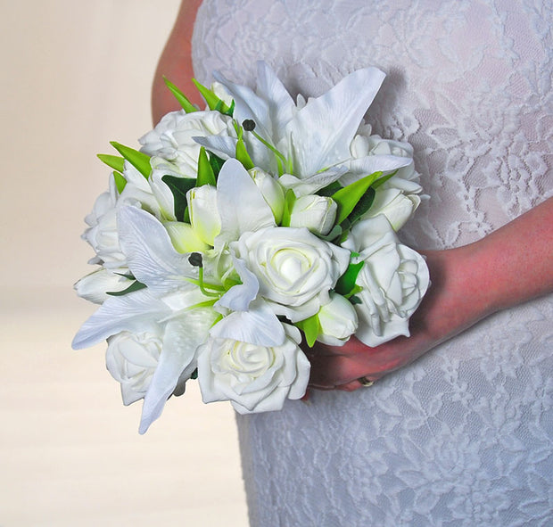 Bridesmaids Ivory Silk Lily, Tulip & Rose Wedding Posy Bouquet