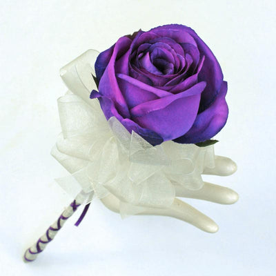 Large Purple Silk Rose Ivory Organza Ribbon Flower Girl Wedding Wand
