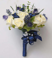 Bridesmaids Lavender, Thistle & Ivory Rose Wedding Posy Bouquet