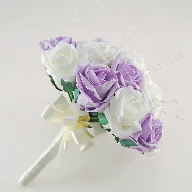 Bridesmaids Lilac & Ivory Rose Pearl Spray Wedding Bouquet