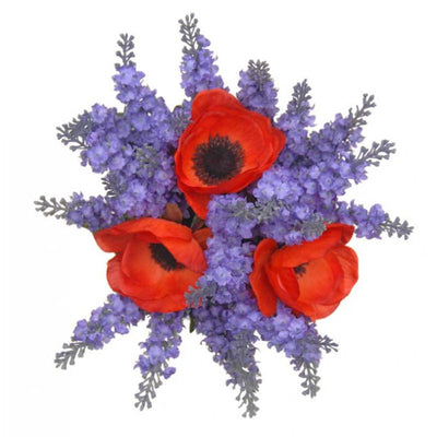 Bridesmaids Silk Lilac Lavender & Red Anemone Wedding Posy