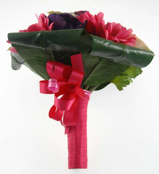 Bridesmaids Pink Gerbera, Purple Anemone & Ivory Calla Lily Wedding Posy